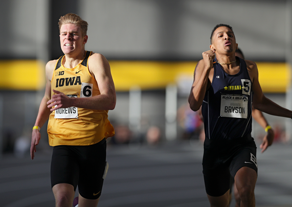 Iowa's Josh Andrews runs the men's 600 meter run event at the Black and Gold Invite at the Recreation Building in Iowa City on Saturday, February 1, 2020. (Stephen Mally/hawkeyesports.com)
