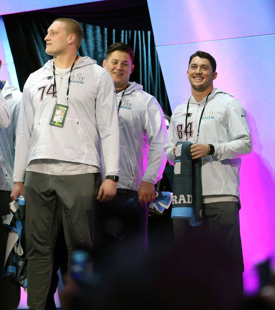 Cole Croston, James Ferentz, Riley McCarron of the New England Patriots