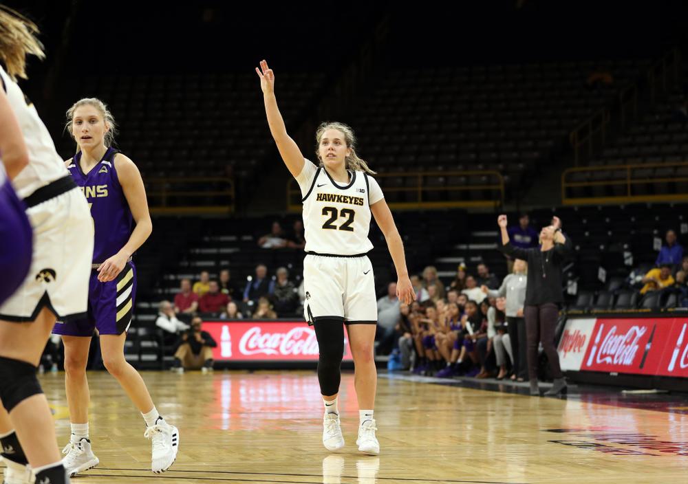 Iowa Hawkeyes guard Kathleen Doyle (22) knocks down a three point basket against North Alabama Thursday, November 14, 2019 at Carver-Hawkeye Arena. (Brian Ray/hawkeyesports.com)