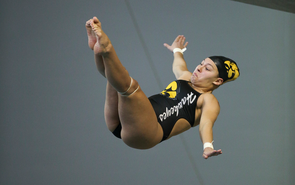 Iowa's Jolynn Harris competes in the platform diving competition during the third day of the Hawkeye Invitational at the Campus Recreation and Wellness Center on November 17, 2018. (Tork Mason/hawkeyesports.com)