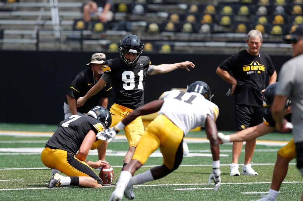 Iowa Hawkeyes place kicker Miguel Recinos (91) during Kids Day Saturday, August 11, 2018 at Kinnick Stadium. (Brian Ray/hawkeyesports.com)