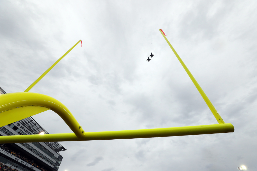 A pair of F18s fly over Kinnick Stadium before the Iowa Hawkeyes game against the Purdue Boilermakers Saturday, October 19, 2019. (Brian Ray/hawkeyesports.com)