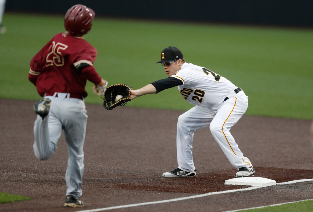 Iowa Hawkeyes catcher Austin Guzzo (20) against Coe College Wednesday, April 11, 2018 at Duane Banks Field. (Brian Ray/hawkeyesports.com)