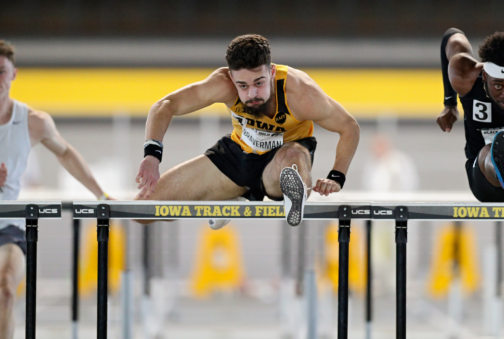 Iowa's Josh Braverman runs the men's 60 meter hurdles event at the Black and Gold Invite at the Recreation Building in Iowa City on Saturday, February 1, 2020. (Stephen Mally/hawkeyesports.com)