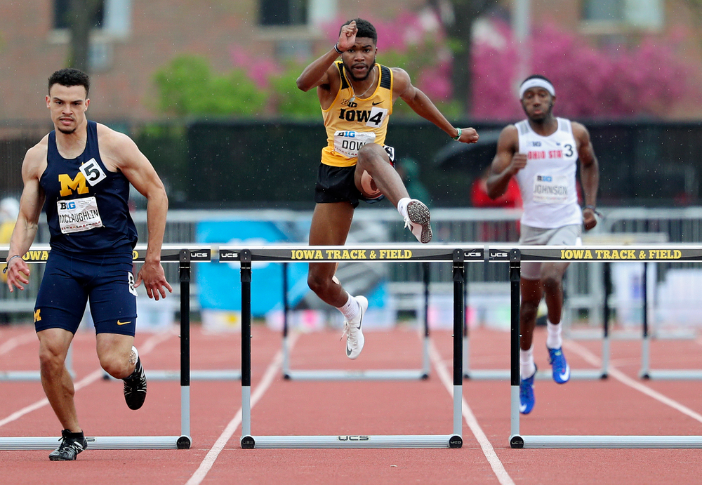 Iowa's Raymonte Dow runs the men's 400 meter hurdles event on the third day of the Big Ten Outdoor Track and Field Championships at Francis X. Cretzmeyer Track in Iowa City on Sunday, May. 12, 2019. (Stephen Mally/hawkeyesports.com)