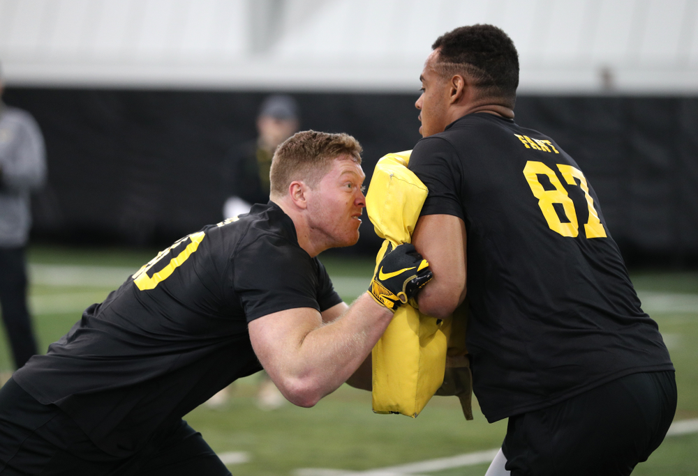Iowa Hawkeyes defensive end Parker Hesse (40) and tight end Noah Fant (87) during the teamÕs annual Pro Day Monday, March 25, 2019 at the Hansen Football Performance Center. (Brian Ray/hawkeyesports.com)