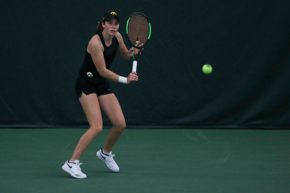 IowaÕs Elise Van Heuvelen Treadwell at womenÕs tennis senior day vs Nebraska on Saturday, April 13, 2019 at the Hawkeye Tennis and Recreation Complex. (Lily Smith/hawkeyesports.com)