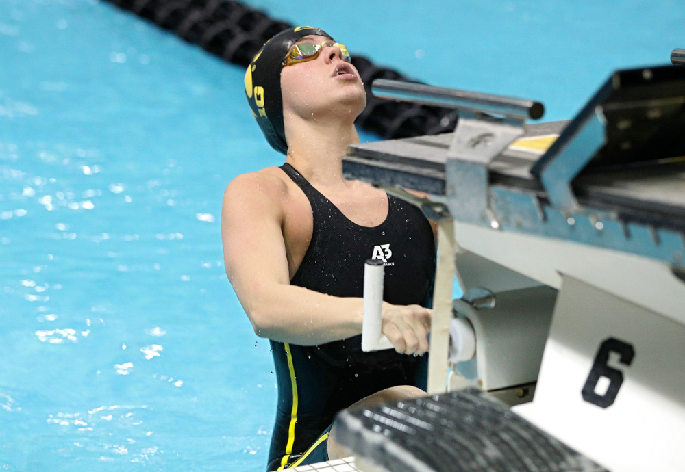 Iowa's Kennedy Gilbertson swims the women's 200 yard backstroke C final event during the 2020 Women's Big Ten Swimming and Diving Championships at the Campus Recreation and Wellness Center in Iowa City on Saturday, February 22, 2020. (Stephen Mally/hawkeyesports.com)