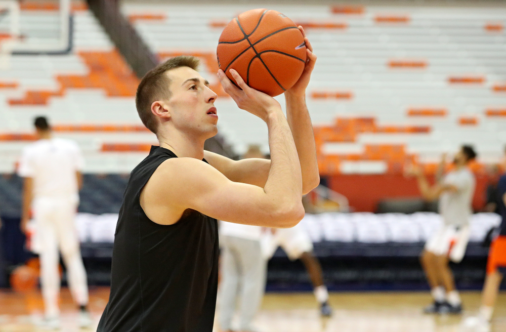 Iowa Hawkeyes guard Joe Wieskamp (10) warms up on the court before their ACC/Big Ten Challenge game at the Carrier Dome in Syracuse, N.Y. on Tuesday, Dec 3, 2019. (Stephen Mally/hawkeyesports.com)