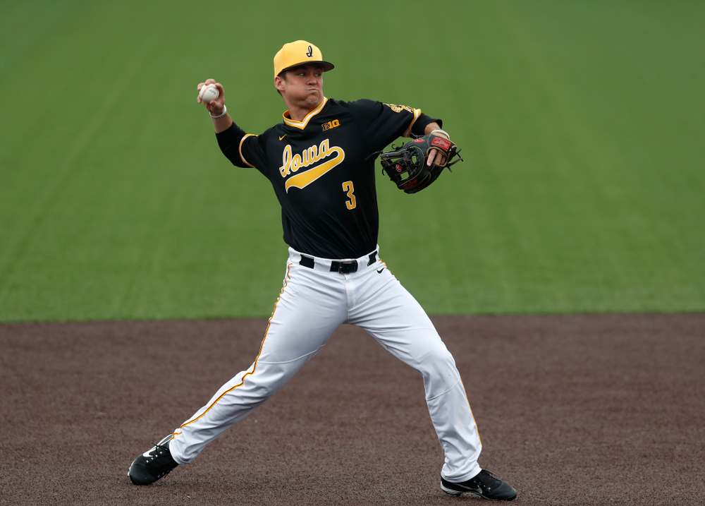 Iowa Hawkeyes infielder Matt Hoeg (3) against the Bradley Braves Wednesday, March 28, 2018 at Duane Banks Field. (Brian Ray/hawkeyesports.com)