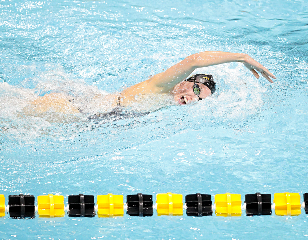Iowa's Allyssa Fluit swims the women's 200 yard freestyle event during their meet at the Campus Recreation and Wellness Center in Iowa City on Friday, February 7, 2020. (Stephen Mally/hawkeyesports.com)