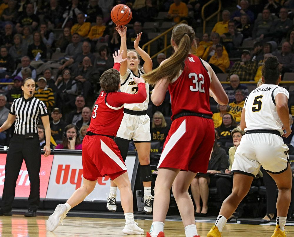 Iowa Hawkeyes guard Kathleen Doyle (22) makes a 3-pointer during the third quarter of the game at Carver-Hawkeye Arena in Iowa City on Thursday, February 6, 2020. (Stephen Mally/hawkeyesports.com)