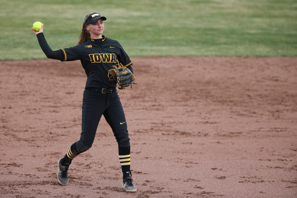 Iowa's Aralee Bogar (2) at game 2 vs Northwestern on Saturday, March 30, 2019 at Bob Pearl Field. (Lily Smith/hawkeyesports.com)