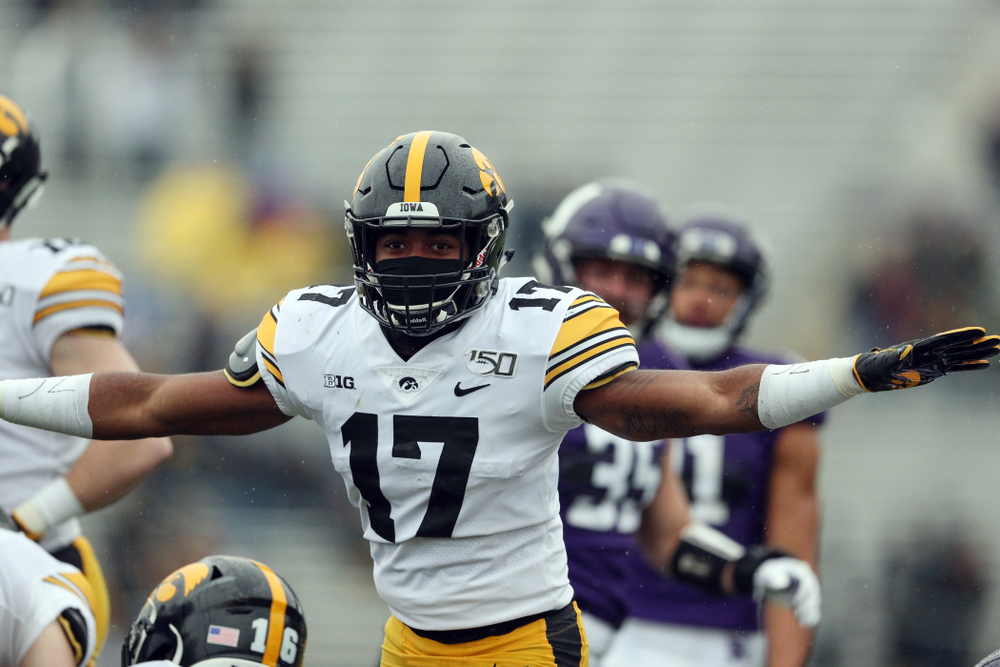 Iowa Hawkeyes defensive back Devonte Young (17) against the Northwestern Wildcats Saturday, October 26, 2019 at Ryan Field in Evanston, Ill. (Brian Ray/hawkeyesports.com)