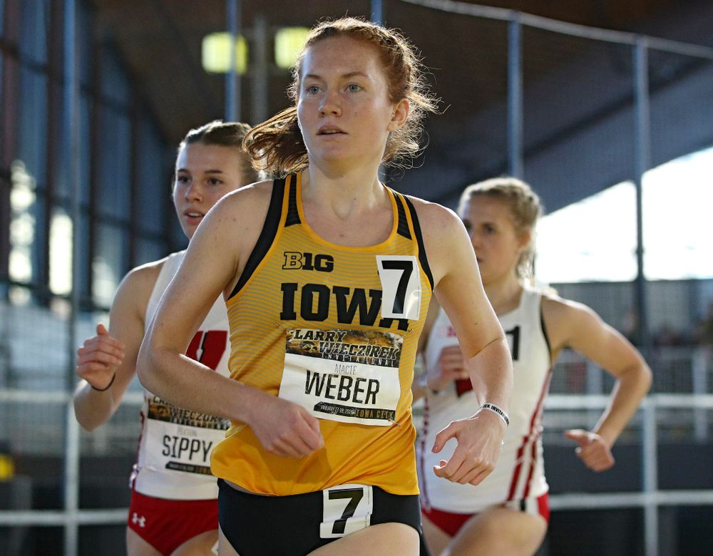 Iowa's Macie Weber runs the women's 1 mile run event during the Larry Wieczorek Invitational at the Recreation Building in Iowa City on Saturday, January 18, 2020. (Stephen Mally/hawkeyesports.com)