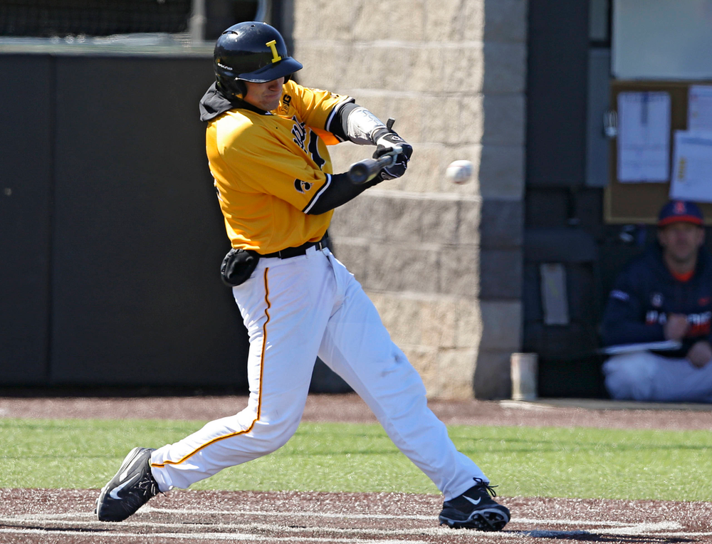 Iowa Hawkeyes catcher Austin Martin (34) bats during the fifth inning against Illinois at Duane Banks Field in Iowa City on Sunday, Mar. 31, 2019. (Stephen Mally/hawkeyesports.com)