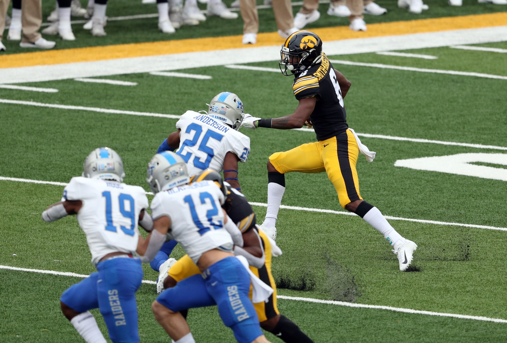 Iowa Hawkeyes wide receiver Ihmir Smith-Marsette (6) against Middle Tennessee State Saturday, September 28, 2019 at Kinnick Stadium. (Brian Ray/hawkeyesports.com)