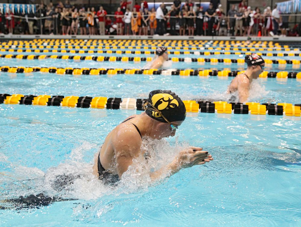 Iowa's Aleksandra Olesiak swims in the women's 200 yard breaststroke preliminary event during the 2020 Women's Big Ten Swimming and Diving Championships at the Campus Recreation and Wellness Center in Iowa City on Saturday, February 22, 2020. (Stephen Mally/hawkeyesports.com)