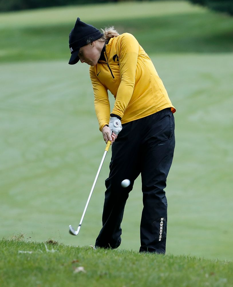 Iowa's Kristin Glesne hits an approach shot during the Diane Thomason Invitational at Finkbine Golf Course on September 29, 2018. (Tork Mason/hawkeyesports.com)