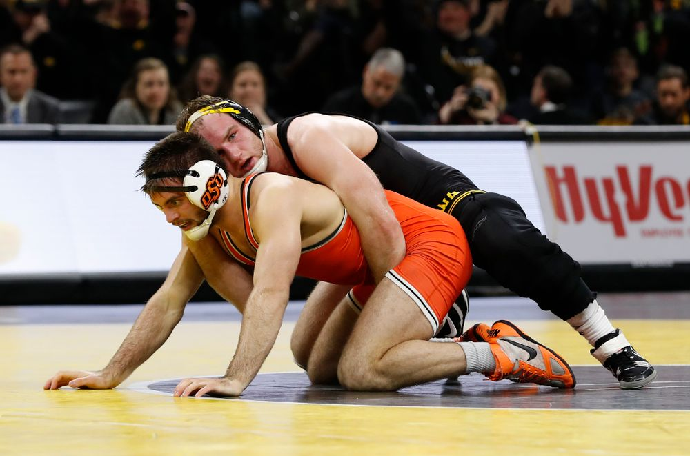Iowa's Alex Marinelli Wrestles Oklahoma State's Chandler Rogers at 165 pounds