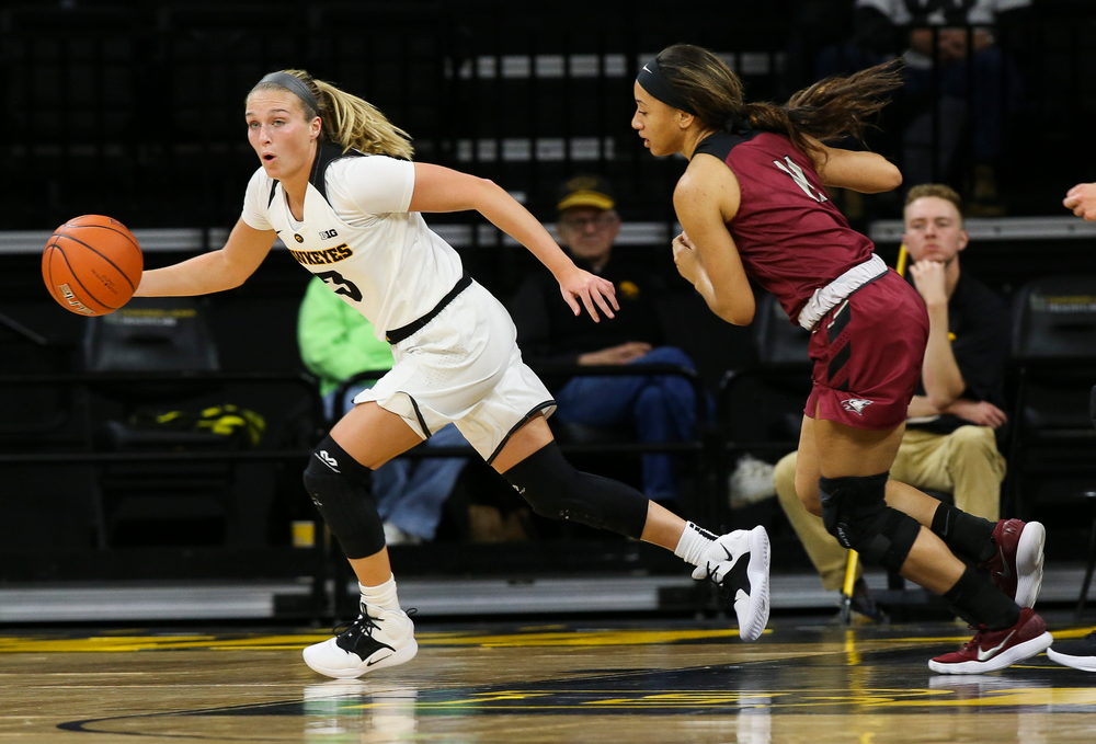 Iowa Hawkeyes guard Makenzie Meyer (3) grabs a rebound during a game against North Carolina Central at Carver-Hawkeye Arena on November 17, 2018. (Tork Mason/hawkeyesports.com)