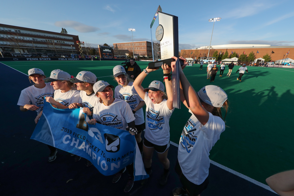 The Iowa Hawkeyes celebrate their victory over  Penn State in the 2019 Big Ten Field Hockey Tournament Championship Game Sunday, November 10, 2019 in State College. (Brian Ray/hawkeyesports.com)