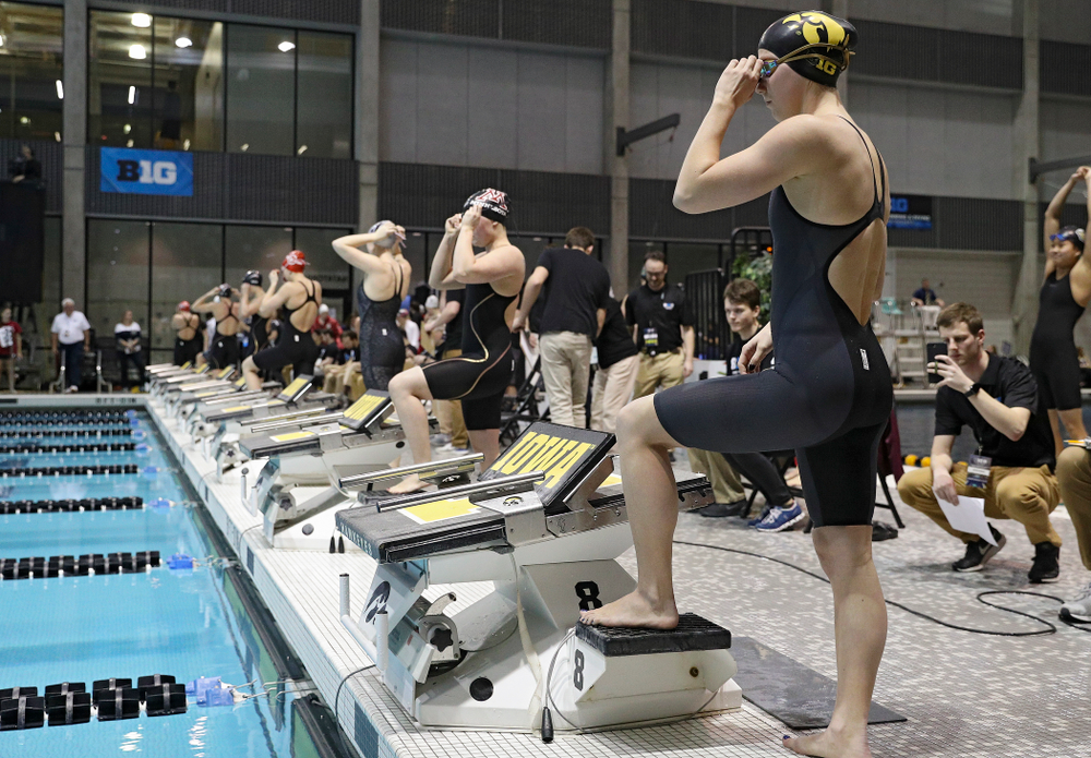 Iowa's Aleksandra Olesiak waits to swim the women's 200 yard breaststroke C final event during the 2020 Women's Big Ten Swimming and Diving Championships at the Campus Recreation and Wellness Center in Iowa City on Saturday, February 22, 2020. (Stephen Mally/hawkeyesports.com)