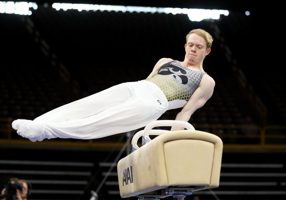 Iowa's Nick Merryman competes on the pommel horse against Illinois Sunday, March 1, 2020 at Carver-Hawkeye Arena. (Brian Ray/hawkeyesports.com)