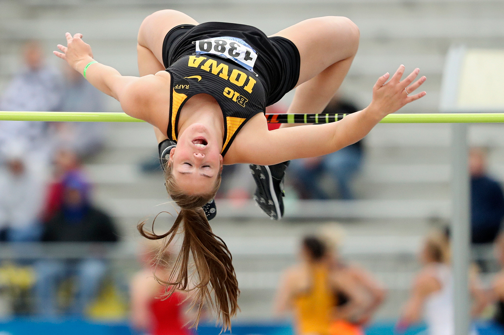 Iowa's Kelli DeGeorge jumps in the women's high jump event during the third day of the Drake Relays at Drake Stadium in Des Moines on Saturday, Apr. 27, 2019. (Stephen Mally/hawkeyesports.com)