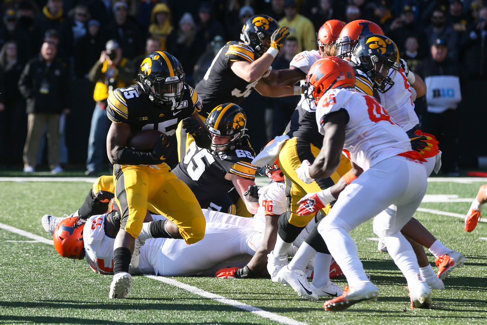 Iowa Hawkeyes running back Tyler Goodson (15) during Iowa football vs Illinois on Saturday, November 23, 2019 at Kinnick Stadium. (Lily Smith/hawkeyesports.com)