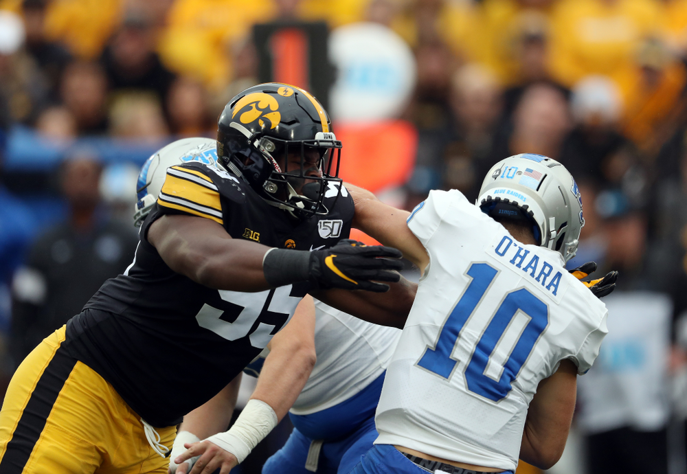 Iowa Hawkeyes defensive lineman Cedrick Lattimore (95) gets a sack against Middle Tennessee State Saturday, September 28, 2019 at Kinnick Stadium. (Brian Ray/hawkeyesports.com)