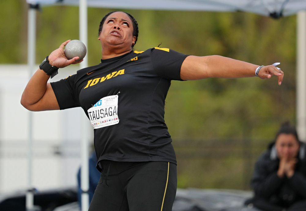 Iowa's Laulauga Tausaga throws during the women's shot put event on the second day of the Big Ten Outdoor Track and Field Championships at Francis X. Cretzmeyer Track in Iowa City on Saturday, May. 11, 2019. (Stephen Mally/hawkeyesports.com)