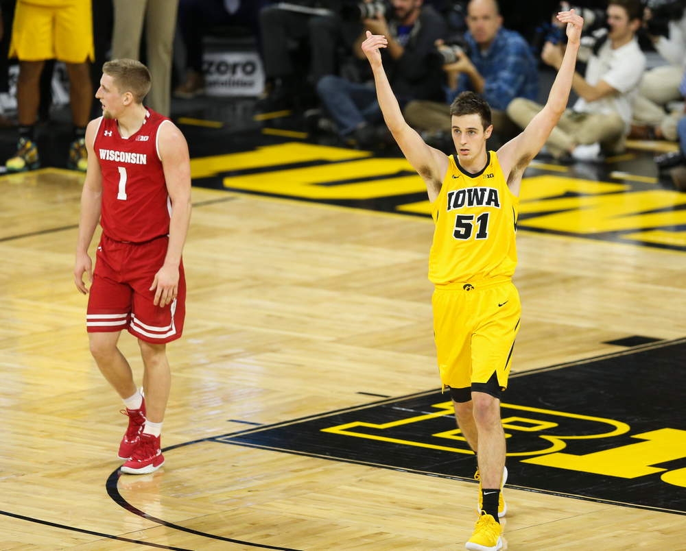 Iowa Hawkeyes forward Nicholas Baer (51) reacts after blocking a shot against Wisconsin on November 30, 2018 at Carver-Hawkeye Arena. (Tork Mason/hawkeyesports.com)