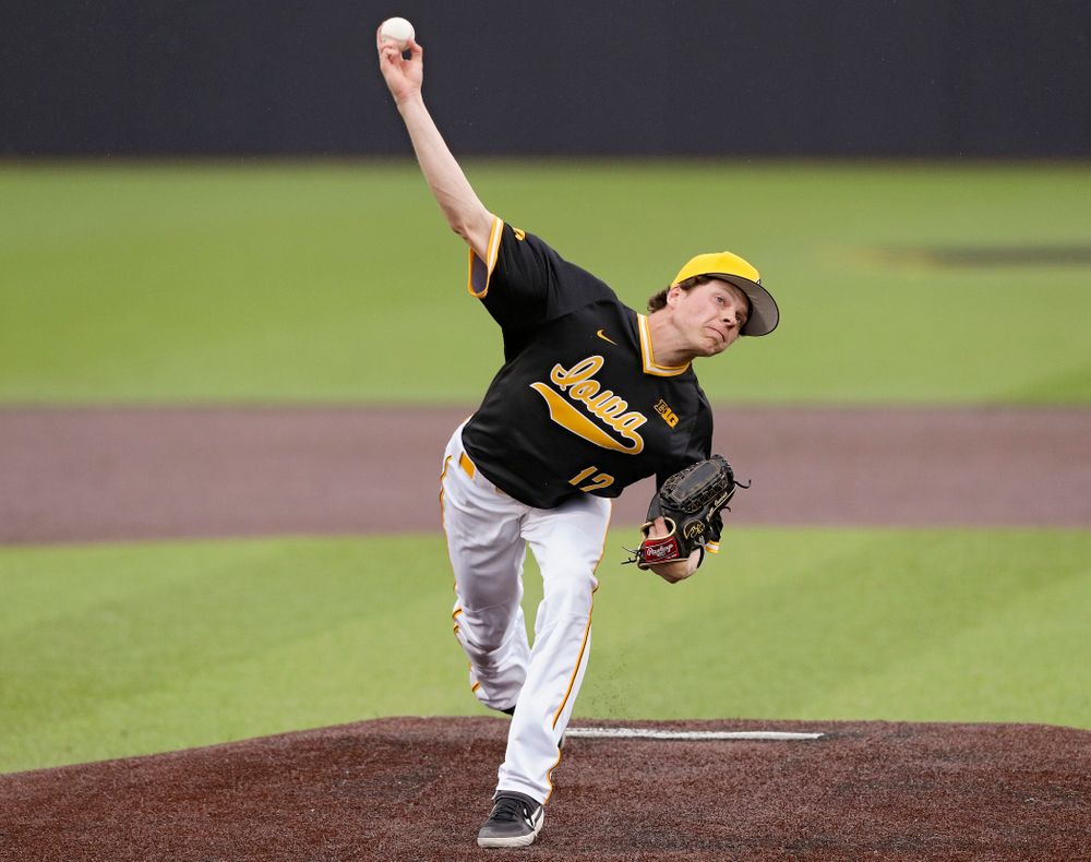 Iowa Hawkeyes pitcher Drew Irvine (12) delivers to the plate during the fourth inning of their game against Illinois State at Duane Banks Field in Iowa City on Wednesday, Apr. 3, 2019. (Stephen Mally/hawkeyesports.com)