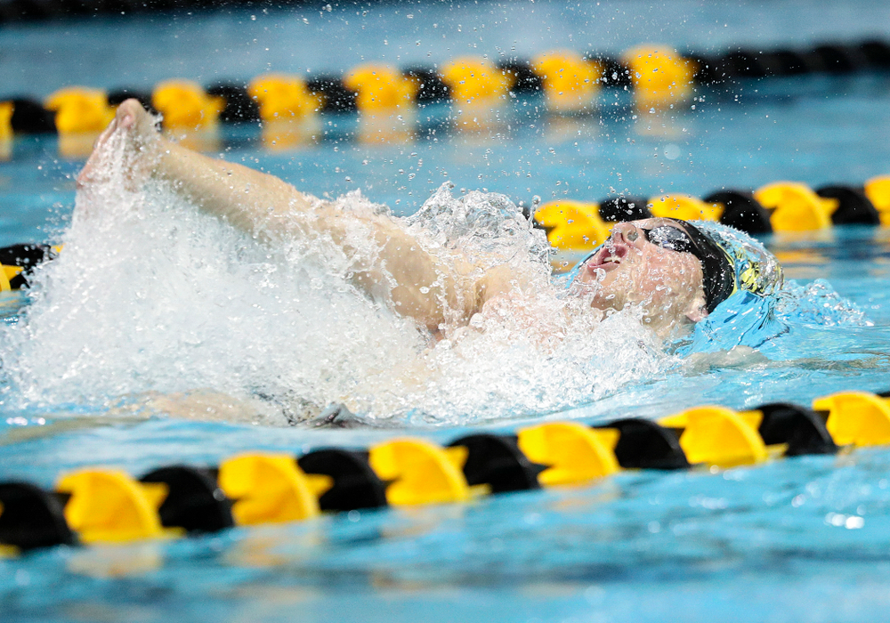 Iowa's John Colin swims the backstroke section of the men's 200-yard medley relay event during their meet against Michigan State and Northern Iowa at the Campus Recreation and Wellness Center in Iowa City on Friday, Oct 4, 2019. (Stephen Mally/hawkeyesports.com)