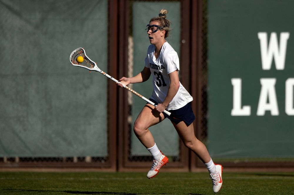 STANFORD, California - FEBRUARY 14:  Virginia Cavaliers defense Ashley Stilo (31) runs up field against the Stanford Cardinal during the first half at Cagan Stadium on February 14, 2020 in Stanford, California. The Virginia Cavaliers defeated the Stanford Cardinal 12-11. (Photo by Jason O. Watson)