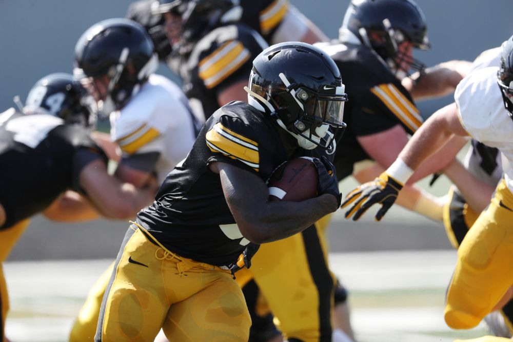 Iowa Hawkeyes running back Mekhi Sargent (10) during Fall Camp Practice No. 5 Tuesday, August 6, 2019 at the Ronald D. and Margaret L. Kenyon Football Practice Facility. (Brian Ray/hawkeyesports.com)