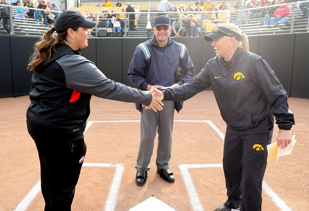 Iowa head coach Renee Gillispie shakes hands with Ohio State head coach Kelly Kovach Schoenly before their game against Ohio State at Pearl Field in Iowa City on Friday, May. 3, 2019. (Stephen Mally/hawkeyesports.com)