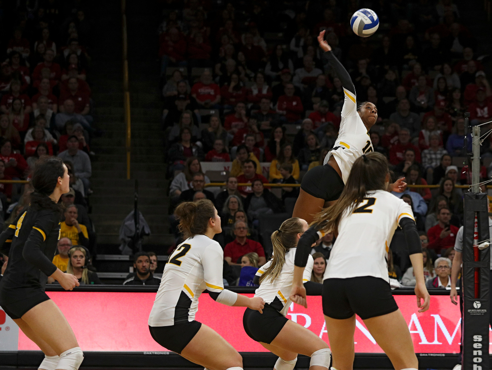 Iowa's Griere Hughes (10) lines up a shot during the second set of their match against Nebraska at Carver-Hawkeye Arena in Iowa City on Saturday, Nov 9, 2019. (Stephen Mally/hawkeyesports.com)
