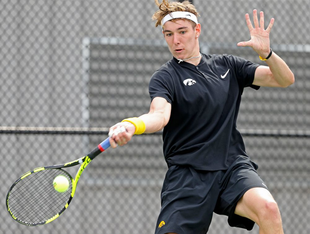 Iowa's Nikita Snezhko competes during a match against Ohio State at the Hawkeye Tennis and Recreation Complex in Iowa City on Sunday, Apr. 7, 2019. (Stephen Mally/hawkeyesports.com)