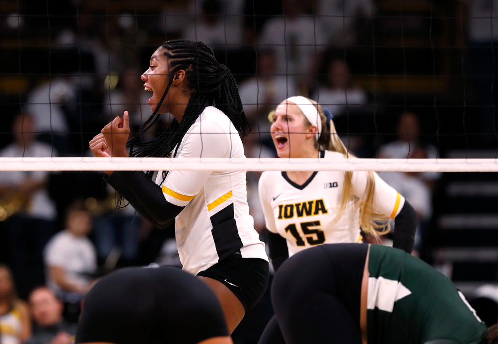 Iowa Hawkeyes middle blocker Amiya Jones (9) against the Michigan State Spartans Friday, September 21, 2018 at Carver-Hawkeye Arena. (Brian Ray/hawkeyesports.com)