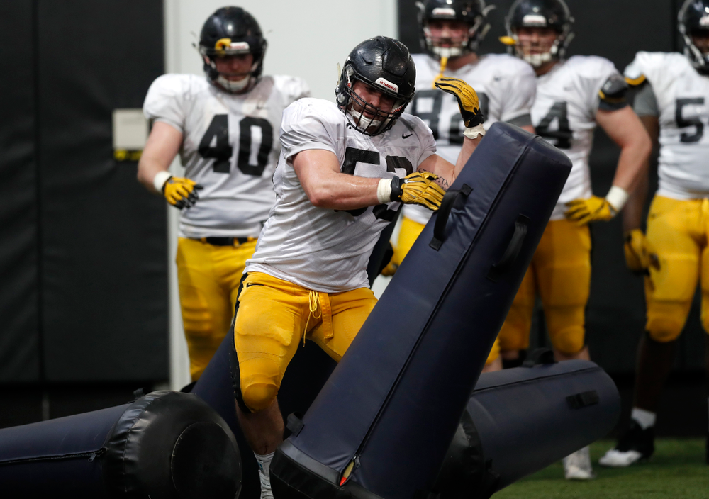 Iowa Hawkeyes defensive lineman Garret Jansen (53) during spring practice Wednesday, March 28, 2018 at the Hansen Football Performance Center.  (Brian Ray/hawkeyesports.com)