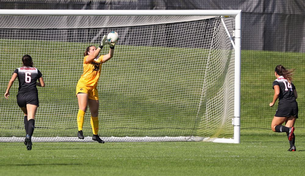 Iowa goalkeeper Monica Wilhelm (28) grabs a shot during the second half of their match at the Iowa Soccer Complex in Iowa City on Sunday, Sep 1, 2019. (Stephen Mally/hawkeyesports.com)