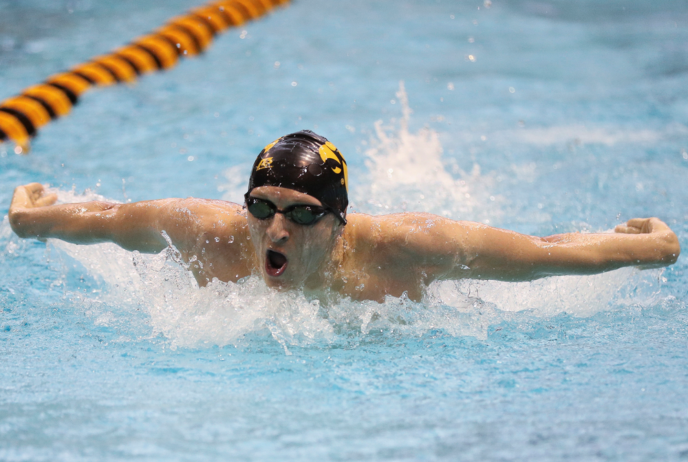 Iowa's Jackson Kuhlers competes in the 200-yard butterfly during the third day of the Hawkeye Invitational at the Campus Recreation and Wellness Center on November 17, 2018. (Tork Mason/hawkeyesports.com)
