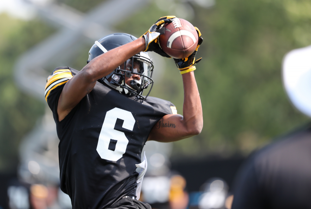Iowa Hawkeyes wide receiver Ihmir Smith-Marsette (6) during the third practice of fall camp Sunday, August 5, 2018 at the Kenyon Football Practice Facility. (Brian Ray/hawkeyesports.com)