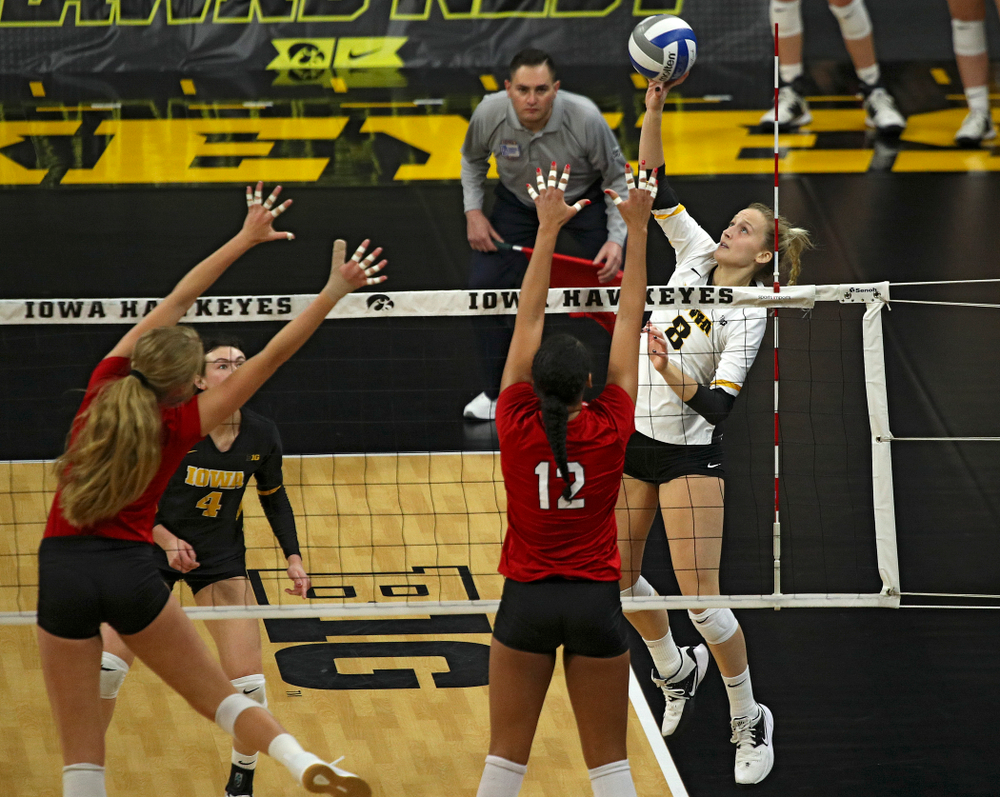 Iowa's Kyndra Hansen (8) lines up a shot during the second set of their match against Nebraska at Carver-Hawkeye Arena in Iowa City on Saturday, Nov 9, 2019. (Stephen Mally/hawkeyesports.com)