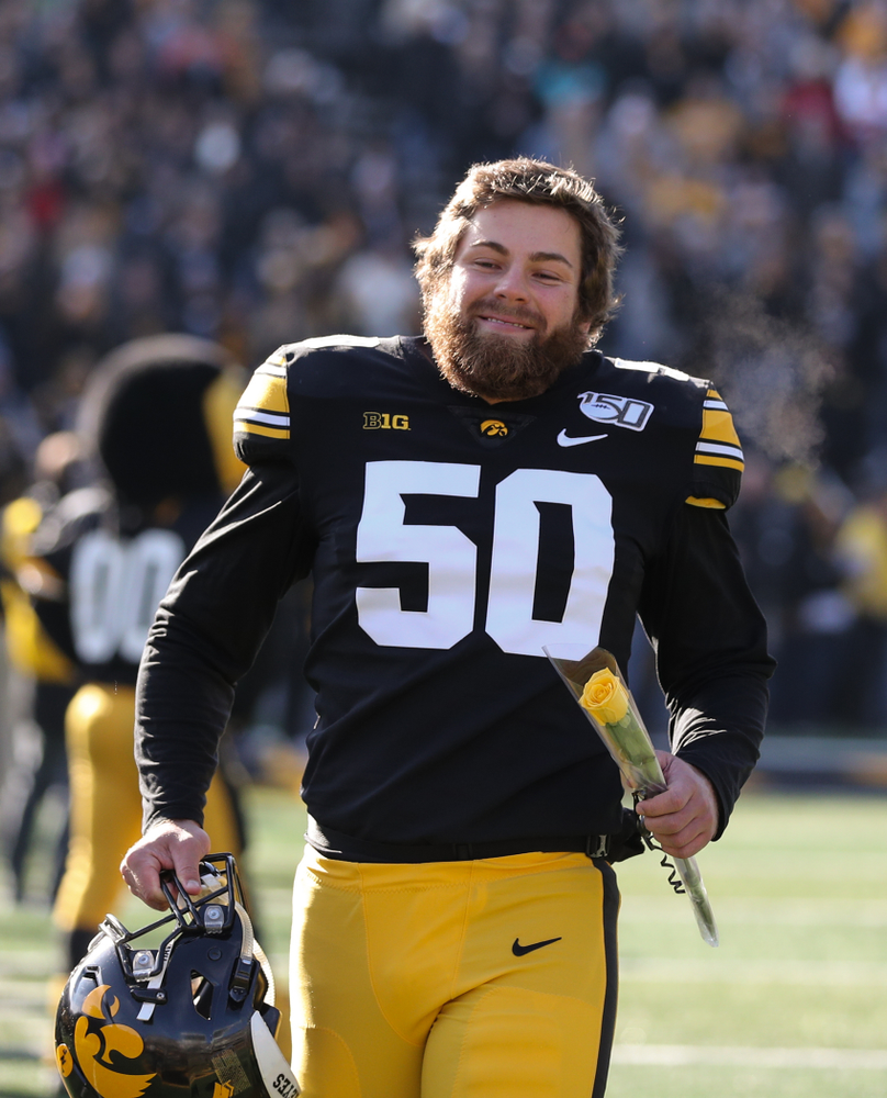 Iowa Hawkeyes long snapper Jackson Subbert (50) during Senior Day festivities before their game against the Illinois Fighting Illini Saturday, November 23, 2019 at Kinnick Stadium. (Brian Ray/hawkeyesports.com)