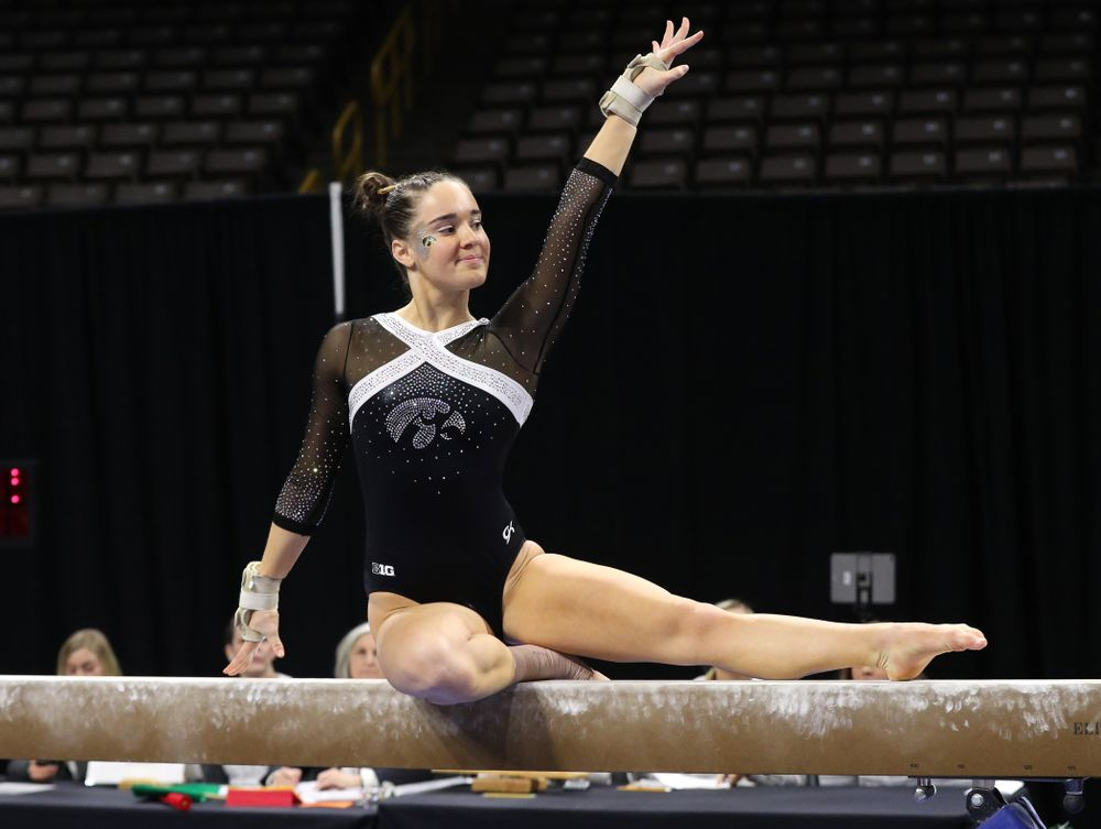 Iowa's Allie Gilchrist competes on the beam against the Rutgers Scarlet Knights Saturday, January 26, 2019 at Carver-Hawkeye Arena. (Brian Ray/hawkeyesports.com)
