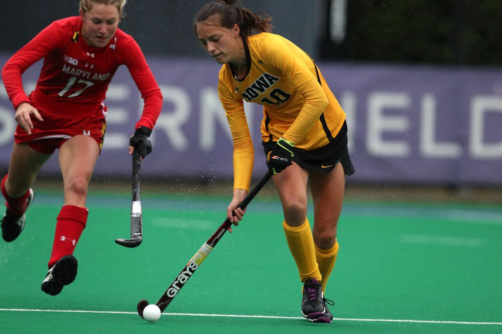 Iowa Hawkeyes Isabella Brown (10) against Maryland during the championship game of the Big Ten Tournament Sunday, November 4, 2018 at Lakeside Field in Evanston, Ill. (Brian Ray/hawkeyesports.com)