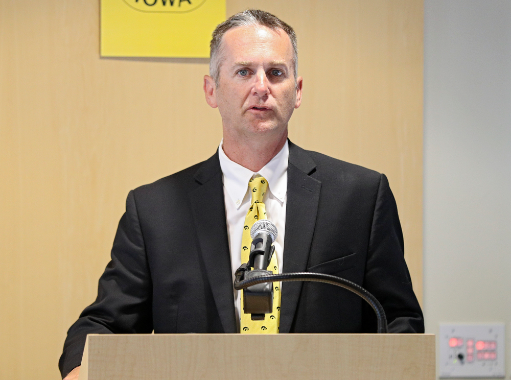 Josh Schamberger, president of Iowa City/Coralville Area Convention & Visitors Bureau, speaks during the press conference to discuss FryFEST and announce the 2019 Iowa Athletics Hall of Fame members in the Varsity Club Room at the University of Iowa Athletics Hall of Fame in Iowa City on Tuesday, Jun 11, 2019. (Stephen Mally/hawkeyesports.com)